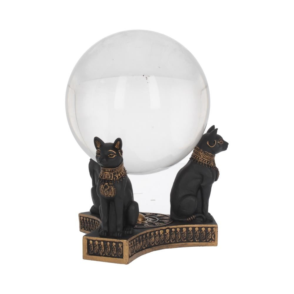 Egyptian Cat Crystal Ball and Stand