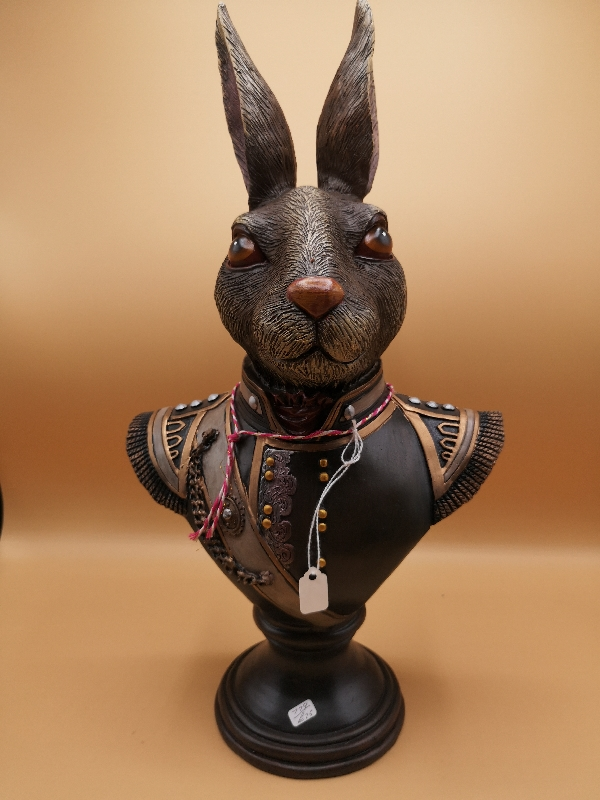 Rabbit Bust in Military Uniform