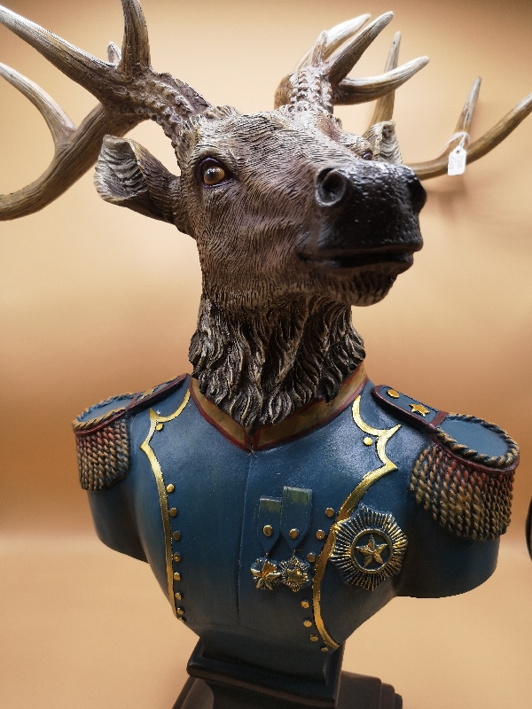 Stag Bust in Military Uniform