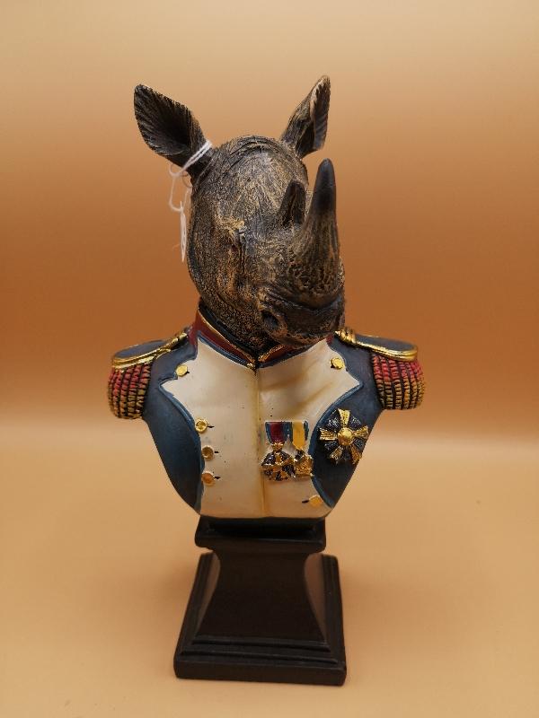 Rhino Bust in Military Uniform