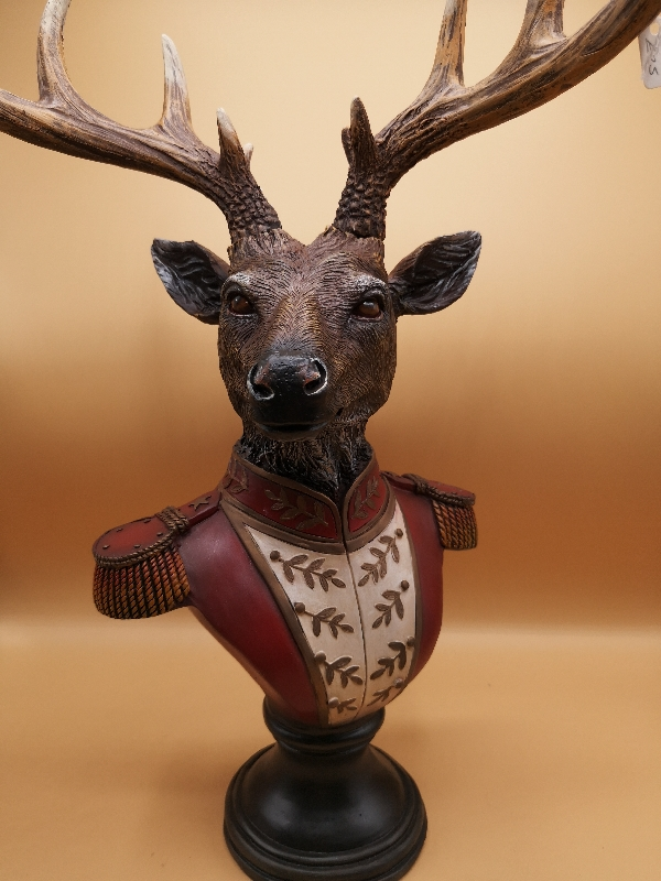 Smaller Stag Bust In Military Uniform