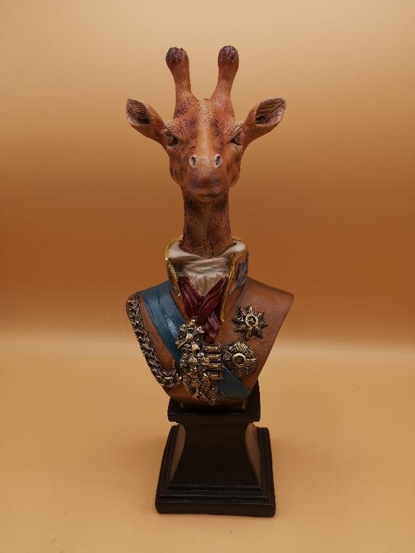 Giraffe Bust in Military Uniform