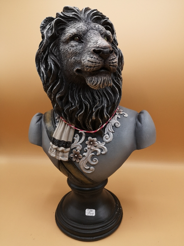 Grey Lion Bust in Military Uniform