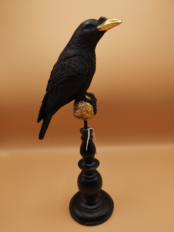 Raven Figurine with gold accent