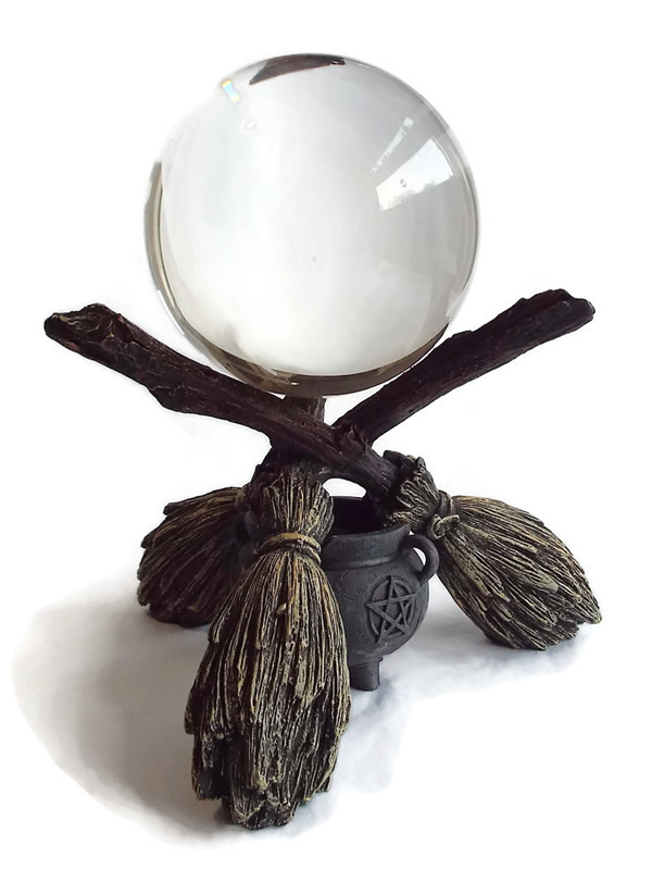 Broomstick Crystal Ball Holder with Crystal Ball