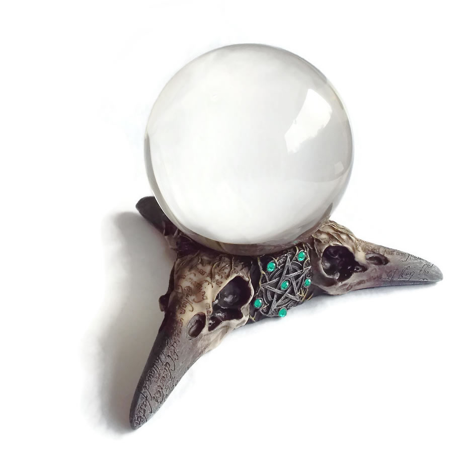 Raven Skull stand with 13cm Crystal Ball